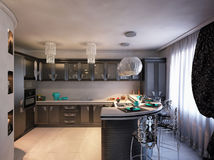 3D illustration of kitchen in black color in style of an art dec Stock Photos