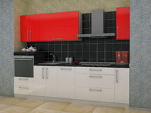 3D illustration of kitchen with red accents Stock Photography