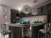 3D illustration of a kitchen in style of an art deco. Postcard Royalty Free Stock Image