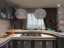 3D illustration of a kitchen in style of an art deco. Royalty Free Stock Images