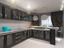 3D illustration of kitchen in style of an art deco Stock Image
