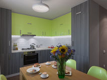 3D illustration of kitchen with wooden and green facades Stock Photos