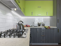 3D illustration of kitchen with wooden and green facades Stock Photography