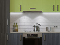 3D illustration of kitchen with wooden and green facades Stock Images