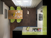 3D illustration of kitchen with wooden and green facades Royalty Free Stock Images