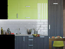 3D illustration of kitchen with wooden and green facades Royalty Free Stock Photography