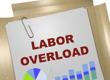 LABOR OVERLOAD concept. 3D illustration of LABOR OVERLOAD title on business document Stock Image