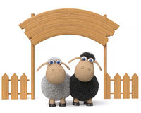 3d illustration lamb with a billboard Royalty Free Stock Images