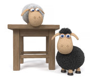 3d illustration lamb with stool Stock Image
