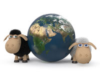 3d illustration of the lambs standing near the earth. Stock Image