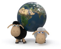 3d illustration of the lambs standing near the earth. Royalty Free Stock Photo