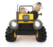 3d illustration lambs on the tractor Royalty Free Stock Photos