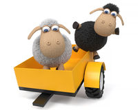 3d illustration lambs on the tractor Stock Photo