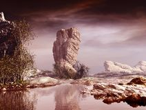 The Rock. 3D Illustration of landscape with fantasy concept with rock formations on calm water and to the center of the scene a large rock with some vegetation Stock Photos