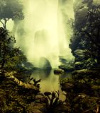 Misty Pond. 3D Illustration of landscape of part a forest with a small lake and several rock formations in a very cloudy atmosphere Royalty Free Stock Photo