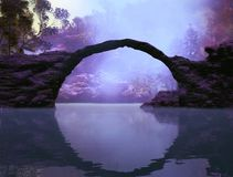 The Bridge. 3D Illustration of landscape where you can see in the foreground a lake with rocks and a portal in the form of an arch and the background vegetation Stock Images