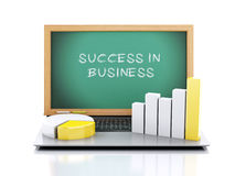 3d illustration. laptop with blackboard. business Graph and char. Ts. success concept on white background Stock Photos
