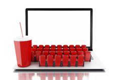 3d Laptop with blank screen and rows of cinema seats. 3d illustration. Laptop with blank screen and rows of cinema seats. Home cinema concept Royalty Free Stock Photo