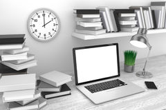 3D illustration laptop and books, in Workspace. 3D illustration laptop and books, Workspace Stock Image