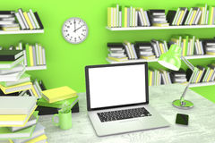 3D illustration laptop and books, in Workspace Stock Photography
