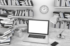 3D illustration laptop and books, in Workspace. 3D illustration laptop and books, Workspace Royalty Free Stock Images
