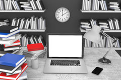 3D illustration laptop and books, in Workspace. 3D illustration laptop and books, Workspace Stock Images