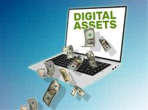 3D illustration of laptop with cash. And the title Digital Assets written on the screen Royalty Free Stock Photography