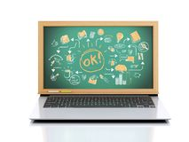 3d illustration. Laptop with chalkboard on white background. 3d illustration. Laptop with business sketch on chalkboard Stock Image