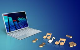 3d blank notes. 3d illustration of laptop computer over blue gradient background with notes Royalty Free Stock Photos