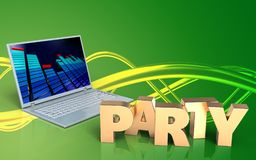 3d party sign laptop computer. 3d illustration of laptop computer over green background with party sign Royalty Free Stock Photography