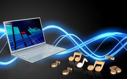 3d blank laptop computer. 3d illustration of laptop computer over sound wave black background with notes Stock Photography