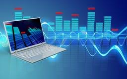 3d blank laptop computer. 3d illustration of laptop computer over sound wave blue background Stock Images