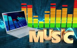 3d laptop computer music sign. 3d illustration of laptop computer over sound wave digital background with music sign Royalty Free Stock Images