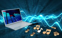 3d blank blank. 3d illustration of laptop computer over sound wave digital background with notes Stock Images