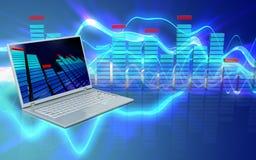 3d laptop computer laptop computer. 3d illustration of laptop computer over sound waves blue background stock illustration