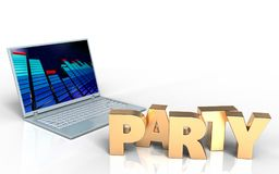 3d blank blank. 3d illustration of laptop computer over white background with party sign Stock Image