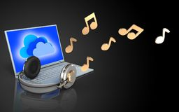 3d blank laptop and headphones Royalty Free Stock Photography