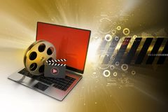 Laptop with reel wheel and clap board in color background. 3d illustration of Laptop with reel wheel and clap board in color background Stock Photos