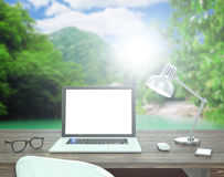 3D illustration laptop on table, Workspace on Royalty Free Stock Photography