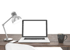 3D illustration laptop on table, Workspace Stock Image