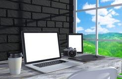 3D illustration laptopand work stuff on table near Royalty Free Stock Photos