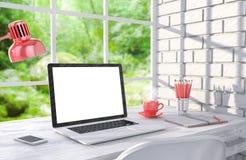 3D illustration laptopand work stuff on table near. Brick wall, Workspace Royalty Free Stock Photography