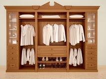 3d illustration of сlassic wood wardrobe wardrobe Stock Images