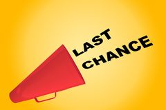 LAST CHANCE concept. 3D illustration of LAST CHANCE title flowing from a loudspeaker Stock Image