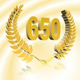 3D Illustration: A laurel wreath with the number 650, symbol image for a jubilee, anniversaries, successes stock illustration