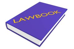 Lawbook literary concept. 3D illustration of LAWBOOK script on a book, isolated on white Stock Image