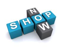 Shop now sign. 3d illustration of letter blocks in crossword shape spelling shop now, white background stock photography