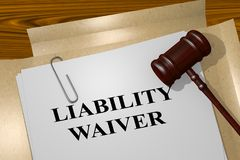 LIABILITY WAIVER concept. 3D illustration of LIABILITY WAIVER title on legal document Stock Photography