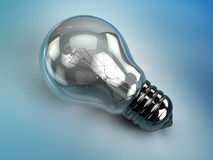 Light bulb. 3d illustration of light bulb over blue background Stock Photos