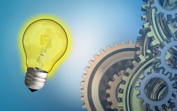 3d blank. 3d illustration of light bulb over blue background with gears system Royalty Free Stock Photo